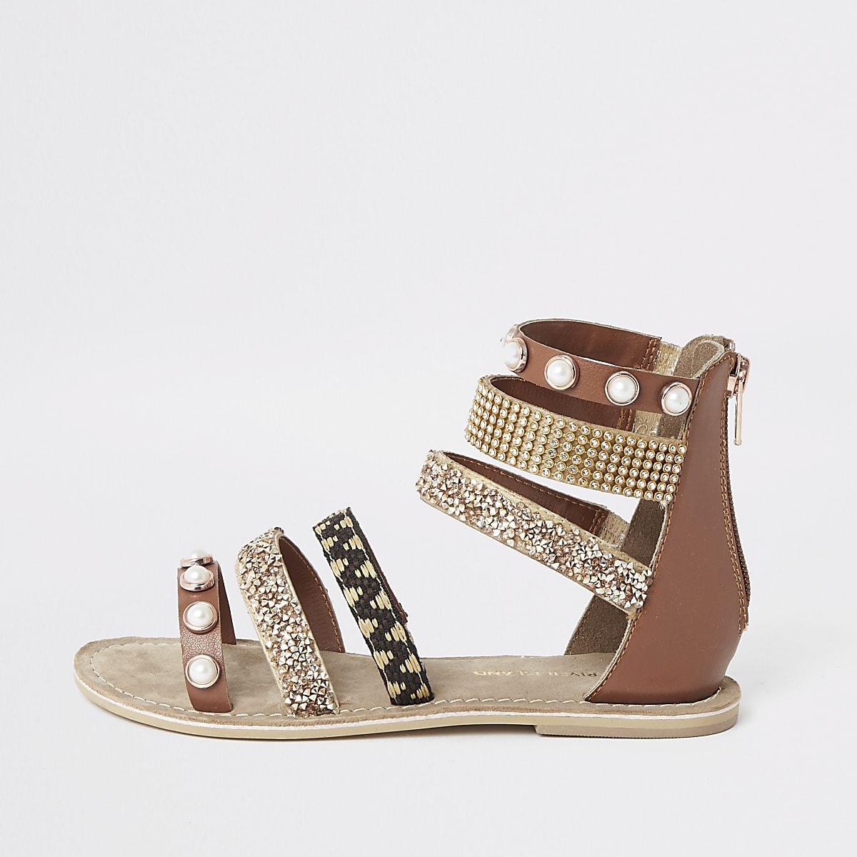 Girls brown embellished multi strap sandal