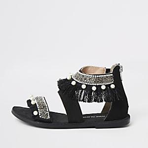 Zwarte sandalen met versiering voor meisjes
