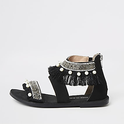 Girls black multi embellished sandals