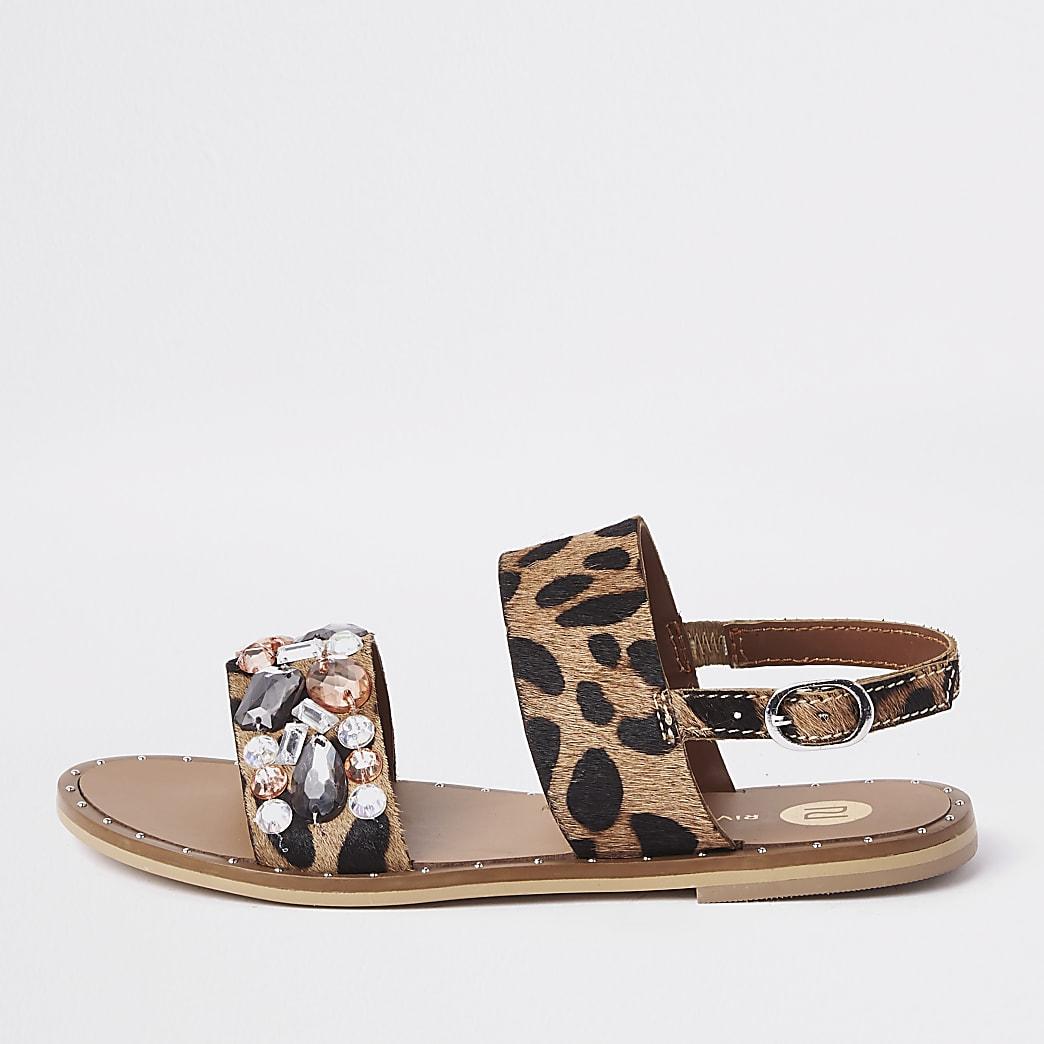 Girls leopard print gem sandals