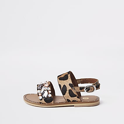 Mini girls leopard print embellished sandals