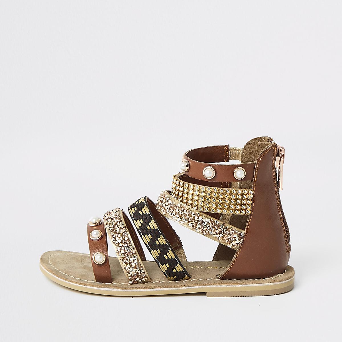 Mini girls brown embellished multi sandals