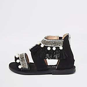 Mini girls black embellished sandals