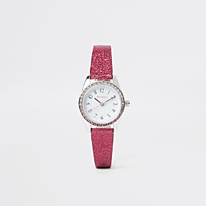 Pinke, glitzernde Armbanduhr
