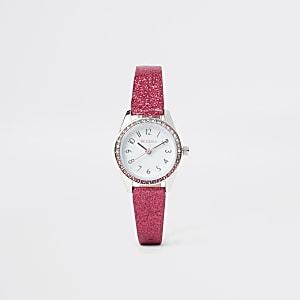 Roze glitterhorloge voor meisjes