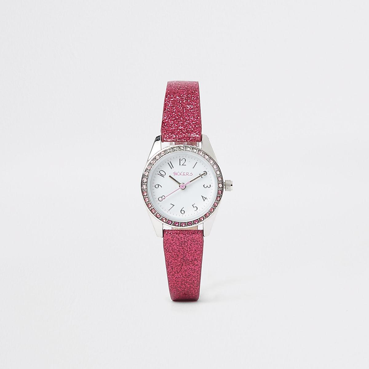 Girls pink glitter watch