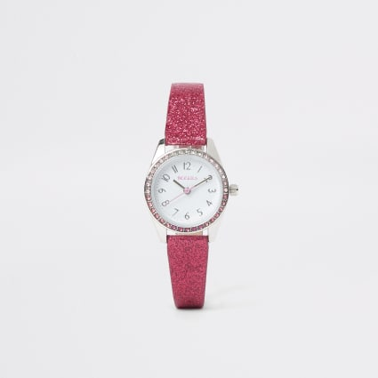 Girls pink glitter watch