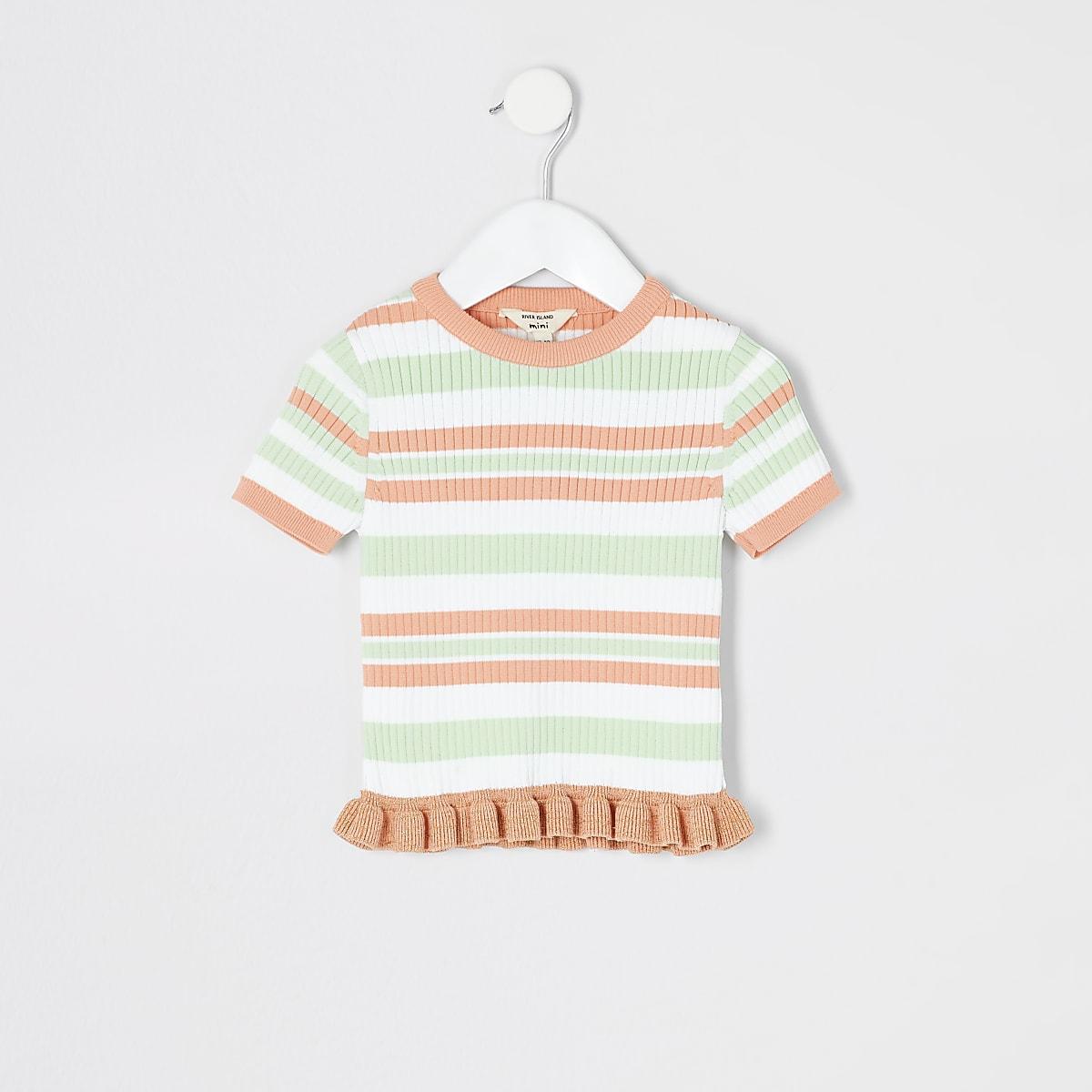 Mini girls white stripe knitted T-shirt