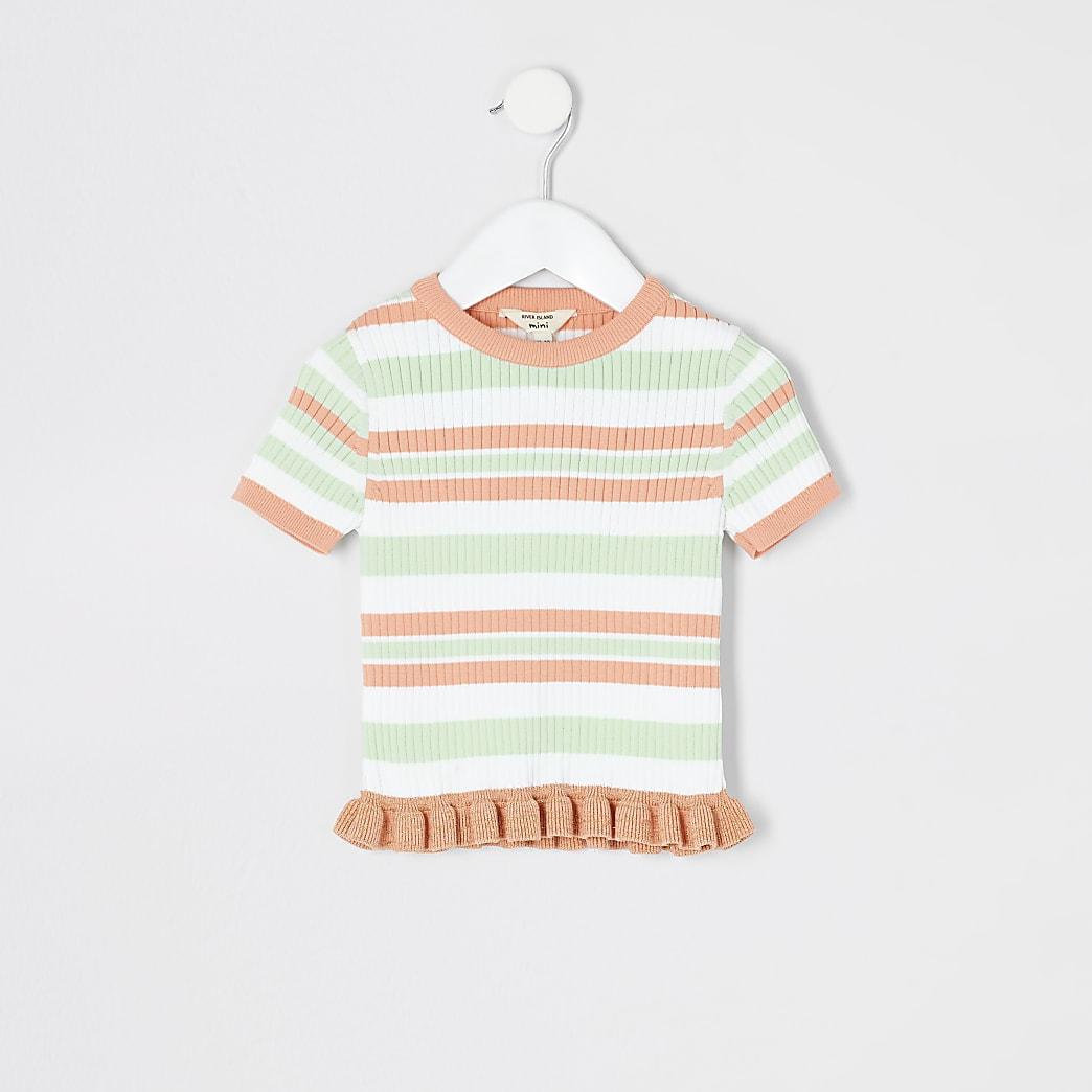 Mini - Wit gestreept gebreid T-shirt voor meisjes