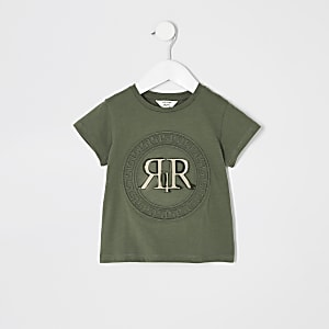 Mini girls green RI embossed T-shirt