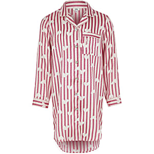 Chemise de nuit en satin imprimé rose pour fille