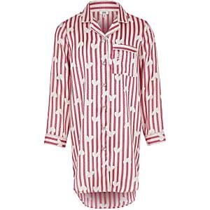 Roze satijnen nachthemd met print voor meisjes