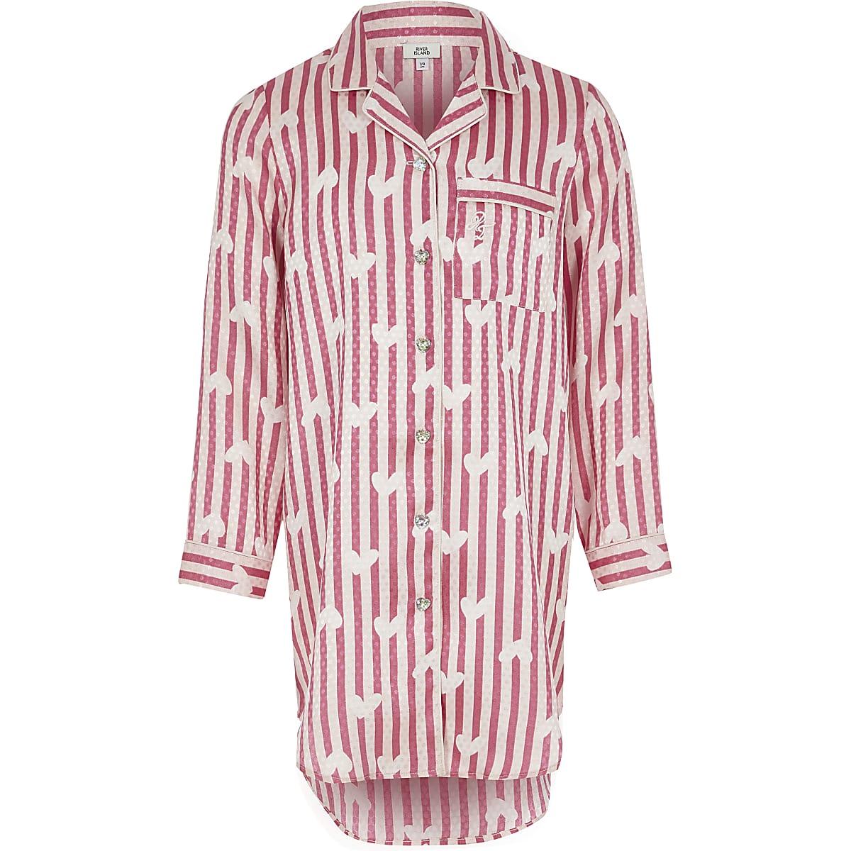 Girls pink satin printed night dress
