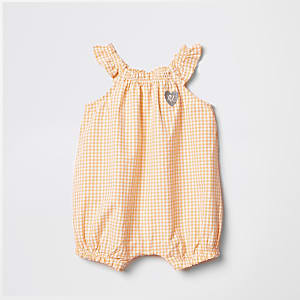 Baby orange gingham romper