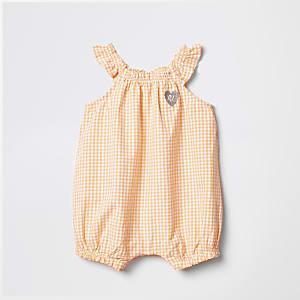 Barboteuse à carreaux vichy orange pour bébé