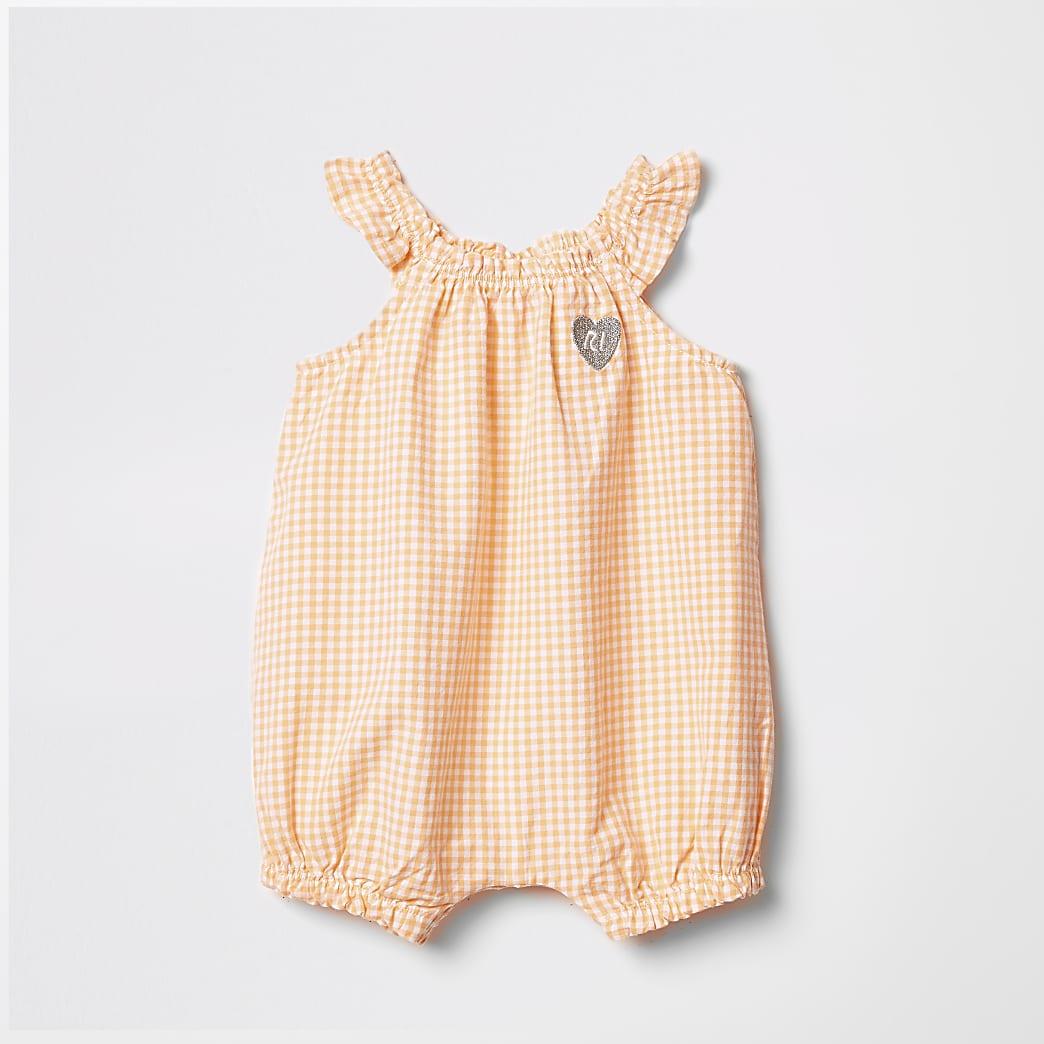 Baby orange gingham romper