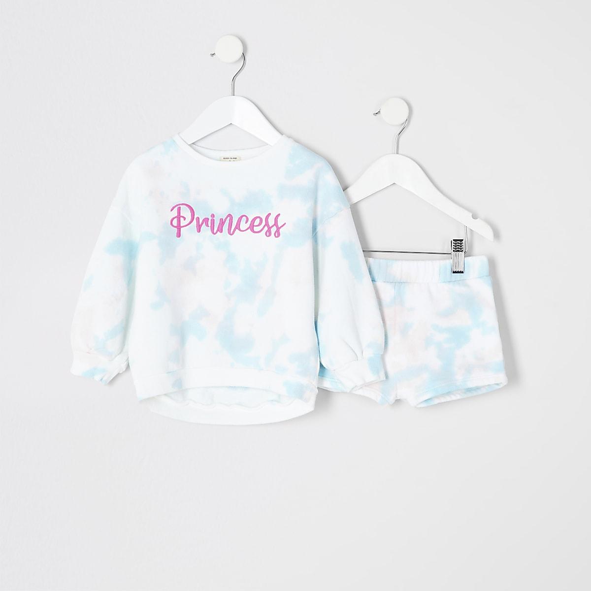 Mini Girls blue tie dye sweatshirt outfit