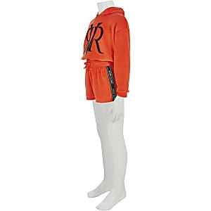 Rode shortoutfit van badstof voor meisjes
