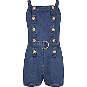 Girls blue denim pinafore playsuit