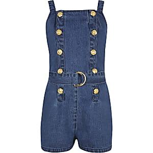 Combi-short chasuble en denim bleu pour fille