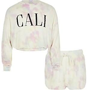 Girls pink tie dye sweatshirt outfit