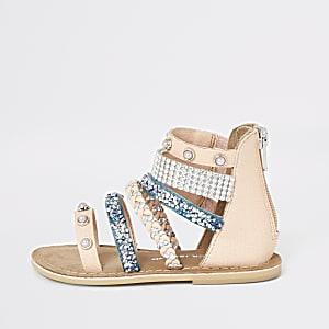 Sandales à brides ornées pour mini fille