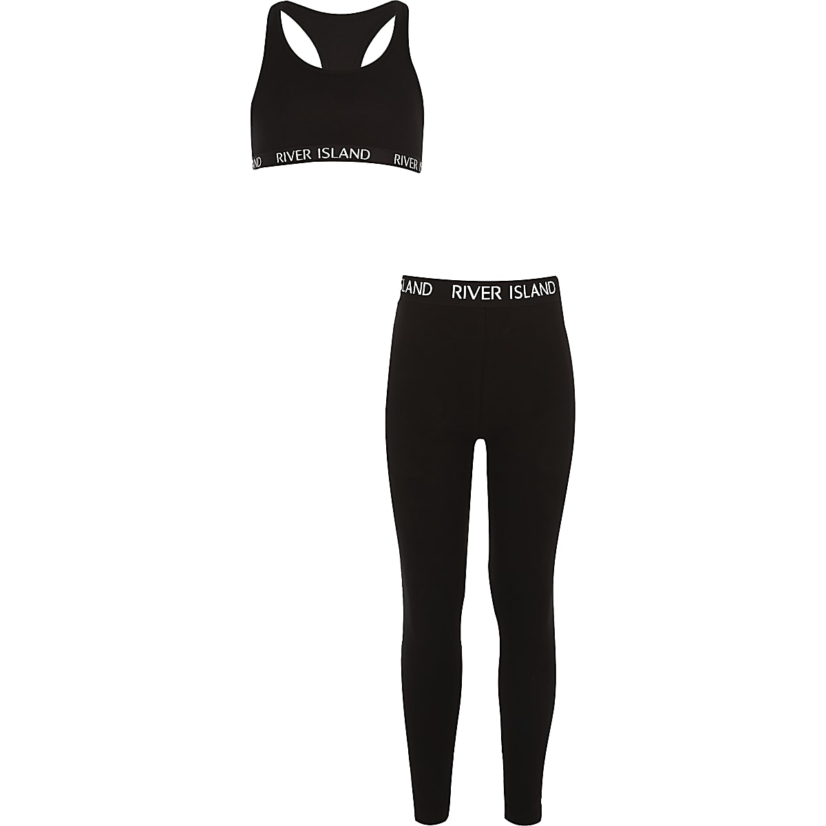 Girls black RI racer crop top outfit