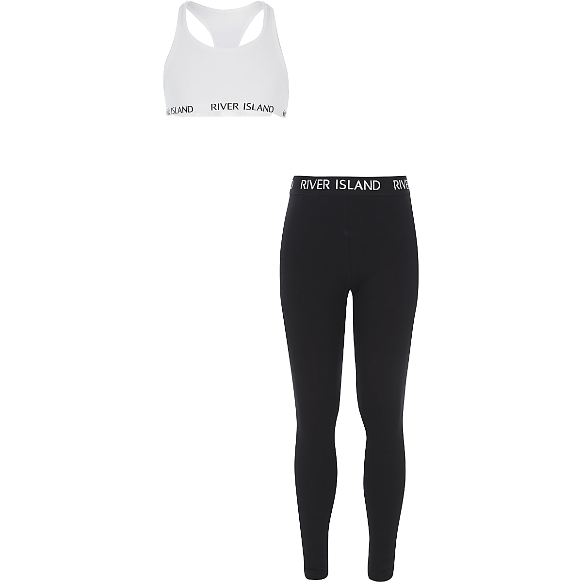 Girls white racer crop and leggings outfit