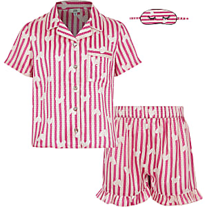 Girls pink satin printed pyjama set