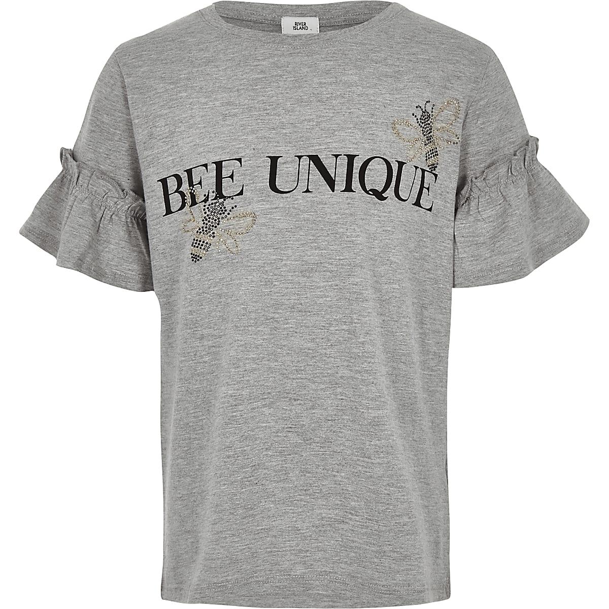 Girls grey 'Bee unique' T-shirt