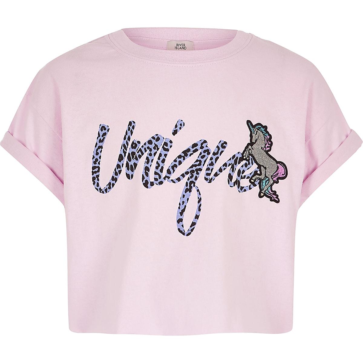 Girls pink 'Unique' unicorn T-shirt