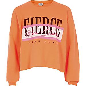 neonoranje sweatshirt met 'Fierce'-print voor meisjes