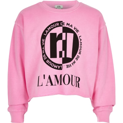 03a48df11 Girls neon pink  L amour  sweatshirt - Hoodies   Sweatshirts - Tops - girls