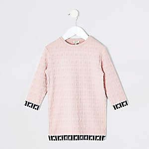 Pinkes Jacquard-T-Shirt-Kleid