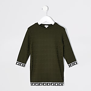 Mini girls khaki jacquard T-shirt dress