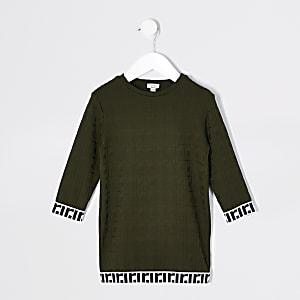 Mini - Kaki jacquard T-shirtjurk voor meisjes