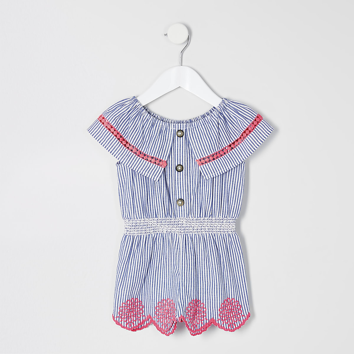 Mini girls blue stripe broderie romper