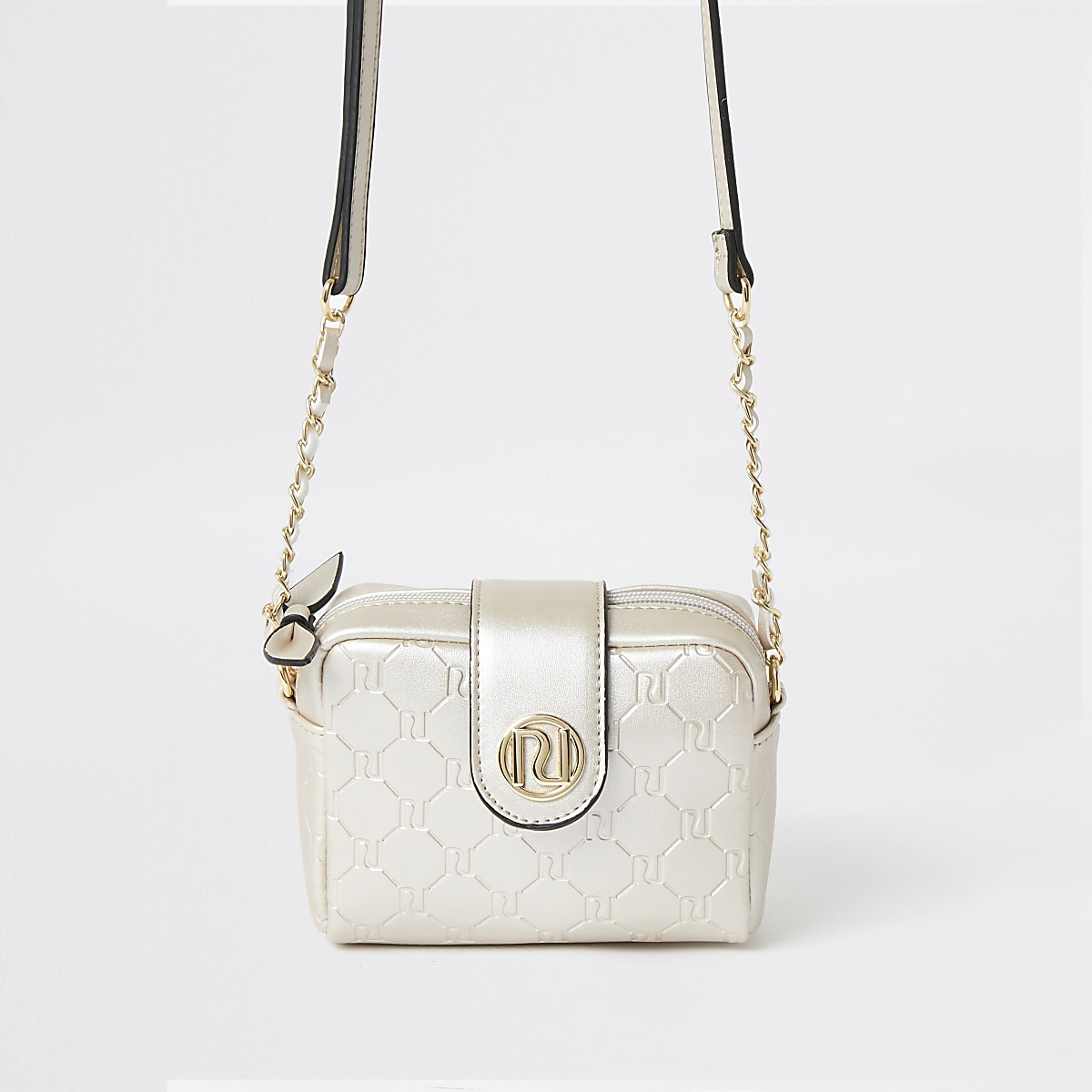 Girls gold RI monogram cross body bag