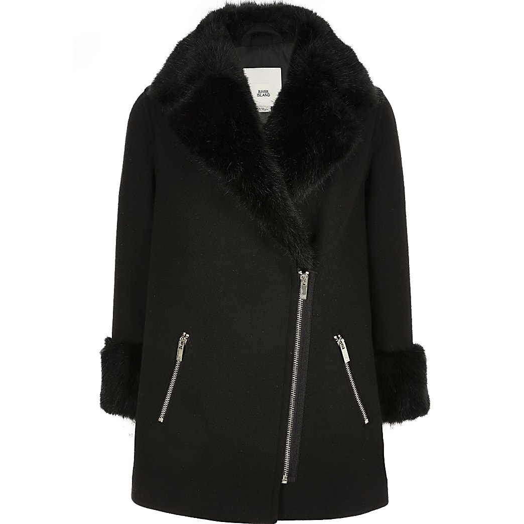 Girls black faux fur trim biker coat