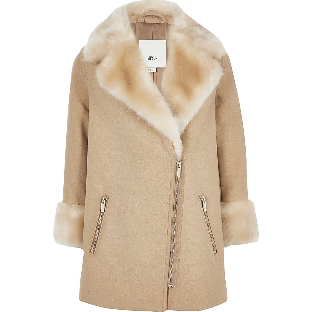 Girls brown faux fur trim biker coat