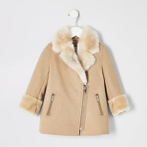 Mini girls brown faux fur trim swing coat