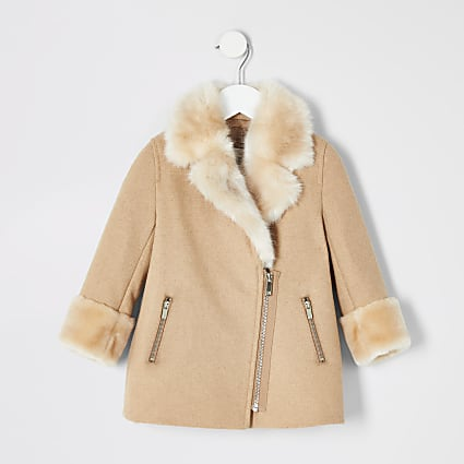 Mini girls brown faux fur trim biker coat