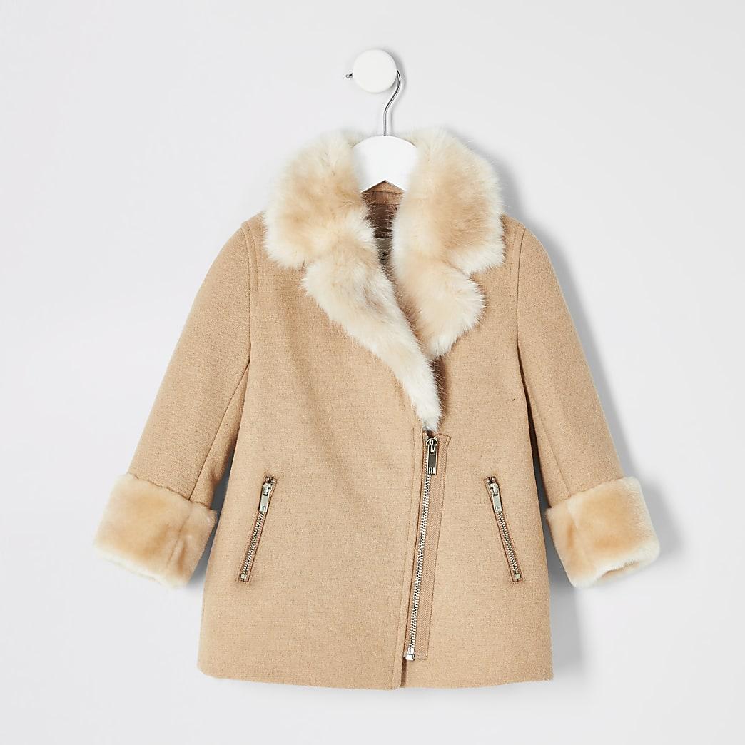 Mini girls brown faux fur trim biker coat