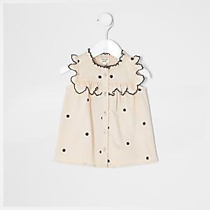 Chemise à pois rose mini fille