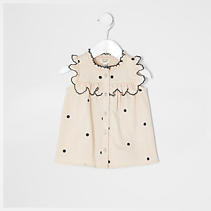 Mini girls pink spot shirt