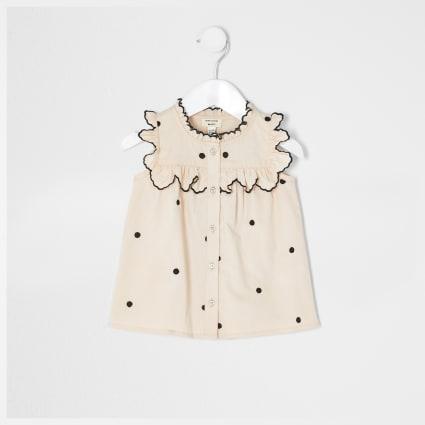 Mini girls pink spot shirt