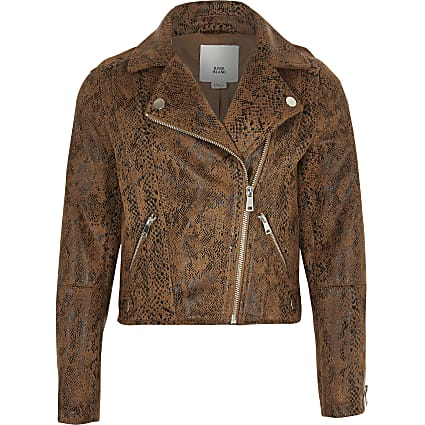 Girls brown snake skin print biker jacket