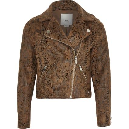 Girls brown snake skin print biker jacket