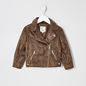 Mini girls brown snake print biker jacket