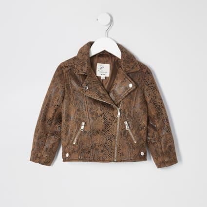 Mini girls brown snake print biker jacket
